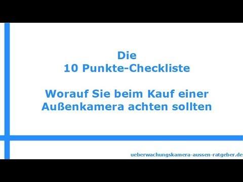 Überwachungskamera außen - Die 10-Punkte-Checkliste