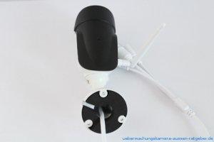 SV3C 1080p Test: Die Außenkamera kann mit drei Schrauben an Wand oder Decke befestigt werden.
